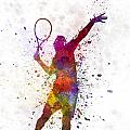 Tennis Player At Service Serving Silhouette 01 by Pablo Romero