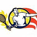 Tennis Player Flaming Racquet Ball Retro by Aloysius Patrimonio