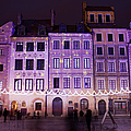 Terraced Historic Houses At Night In Warsaw by Artur Bogacki