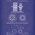Tesla Motor Sept 1891 Patent Art Blue by Prior Art Design