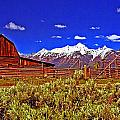 Tetons - Gambrel Barn And Fence Panorama by Rich Walter
