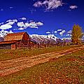 Tetons And Gambrel Barn Perspective by Rich Walter