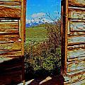 Tetons Through Log House Window by Rich Walter