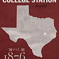 Texas A And M University Aggies College Station College Town State Map Poster Series No 106 by Design Turnpike