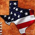 Texas American Flag Map by Marvin Blaine