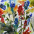 Texas Blue Bonnets And Indian Paintbrush Watercolor by Ginette Callaway