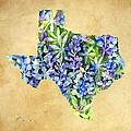 Texas Blues Texas Map by Hailey E Herrera