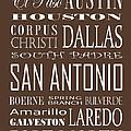 Texas Cities On Brown by Debbie Karnes