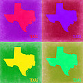 Texas Pop Art Map 2 by Naxart Studio