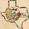 Texas Rangers Logo Vintage by Florian Rodarte