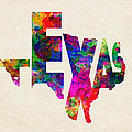 Texas Typographic Watercolor Flag by Inspirowl Design