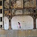 Texting Girl W/ Viaduct by Joe Kotas