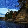 Textured Blues Of Pictured Rocks by Evie Carrier