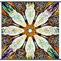 Textured Flower Kaleidoscope Triptych by Barbara Griffin