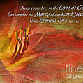Textured Red Daylily With Verse by Debbie Portwood