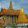 Thai-khmer Pagoda And Golden Chedis At Grand Palace Of Thailand  by Ruth Hager