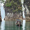 Thai Longtail Boat On Cheow Larn Lake by John Borthwick