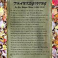 Thanksgiving By Ella Wheeler Wilcox by Sandi OReilly