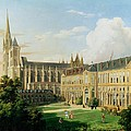The Abbey Church Of Saint-denis And The School Of The Legion Of Honour In 1840 Oil On Canvas by Aline Clement