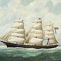 The American Ship Olive S Southard Of San Francisco In French Waters Off Le Havre by Edouard Adam