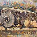 The Armenian Still-life With A Fragment Cross - Stone  Armenian Khachqar by Meruzhan Khachatryan