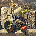 The Armenian Still Life With Cross  Stone Khachkar by Meruzhan Khachatryan