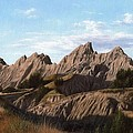 The Badlands In South Dakota Oil Painting by Rachel Stribbling