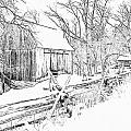 Barn / Outbuildings - Oliver Miller Homestead In The Snow by Digital Photographic Arts