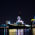 The Battleship New Jersey At Night by Bill Cannon