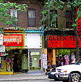 The Beadery Craft Shop  Queen Textiles Fabric Store Downtown Toronto City Scene Paintings Cspandau  by Carole Spandau