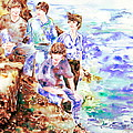 The Beatles At The Sea - Watercolor Portrait by Fabrizio Cassetta