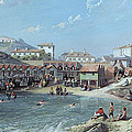 The Beginning Of Sea Swimming In The Old Port Of Biarritz  by Jean Jacques Alban de Lesgallery