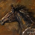 The Black Horse Oil Painting by Angel Ciesniarska