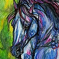 The Blue Horse On Green Background by Angel Ciesniarska