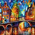 The Bridges Of Amsterdam - Palette Knife Oil Painting On Canvas By Leonid Afremov by Leonid Afremov