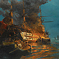 The Burning Of A Turkish Frigate by Konstantinos Volanakis