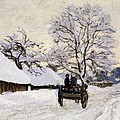 The Carriage- The Road To Honfleur Under Snow by Claude Monet