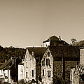 The Castle Above The Village Panorama In Sepia by Weston Westmoreland