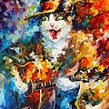 The Cat And The Guitar by Leonid Afremov