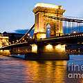 The Chain Bridge In Budapest Lit By The Street Lights by Kiril Stanchev