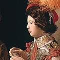 The Cheat With The Ace Of Diamonds, Detail Depicting The Male Card Player With The Feathered Hat by Georges de la Tour