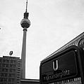the christmas market in Alexanderplatz with the Berlin Fernsehturm and U-bahn sign Germany by Joe Fox