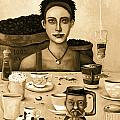 The Coffee Addict In Sepia by Leah Saulnier The Painting Maniac