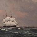 The Corvette Najaden In Rough Seas by Christoffer wilhelm Eckersberg