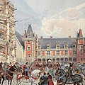 The Court In Chateaus Of The Loire by Albert Robida