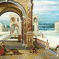 The Courtyard Of A Renaissance Palace by Hendrick van Steenwijck the Younger