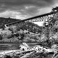 The Deception Pass Bridge II Bw by David Patterson