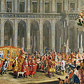 The Departure Of Alois Thomas Von Harrach, Viceroy Of Naples 1669-1742 From The Palazzo Reale Di by Nicolo Maria Russo or Rossi