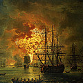The Destruction Of The Turkish Fleet At The Bay Of Chesma by Jacob Philippe Hackert