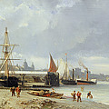 The Docks On The Bank At Greenwich  by Julius Hintz